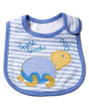 Babyhug Knitted Velcro Bib Splish Splash Tortoise Print - Blue