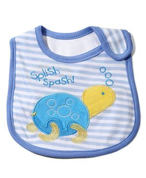 Babyhug Knitted Velcro Bib Splish Splash Tortoise Print - Blue