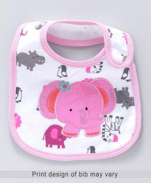 Babyhug Knitted Velcro Bib Elephant Print - Pink