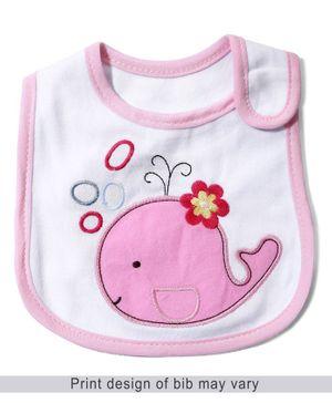 Babyhug Knitted Velcro Bib Fish Print - Pink