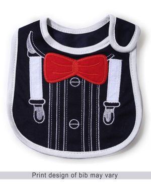 Babyhug Bib Bow Embroidery - Navy And Red