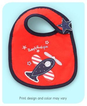 Babyhug Bib Airplane Embroidery - Red