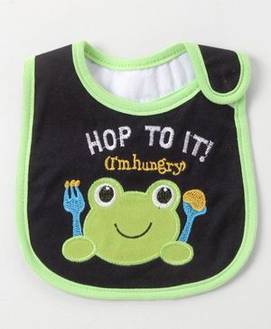 Babyhug Bib Frog Embroidery - Navy And Green