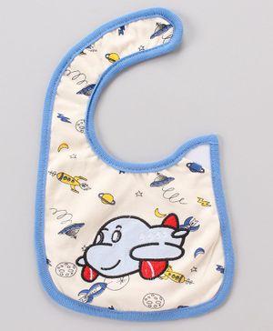 Babyhug Bib Airplane Embroidery - White And Blue