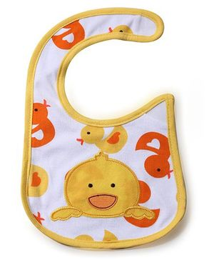 Babyhug Bib Birds Embroidery - White And Yellow