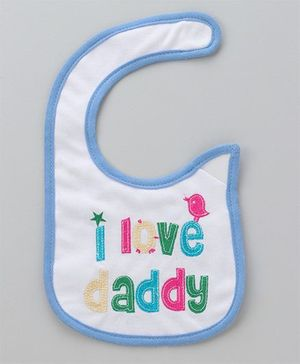 Babyhug Embroidered Bib - Sky Blue