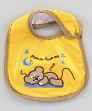 Babyhug Bib Teddy Embroidery - Yellow