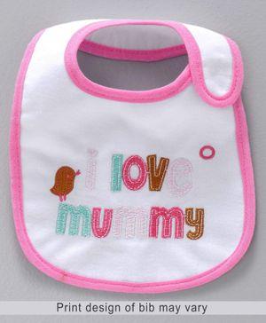 Babyhug Bib Love Mummy Embroidery - White And Pink