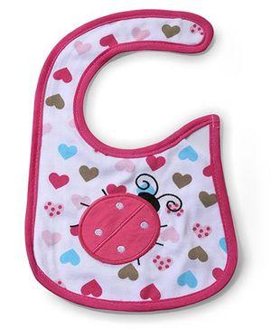 Babyhug Bib Heart Print - White And Pink
