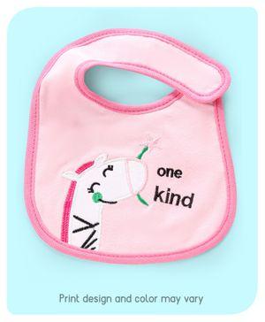 Babyhug Bib Giraffe Embroidery - Pink