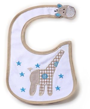 Babyhug Bib Giraffe Embroidery - White And Beige