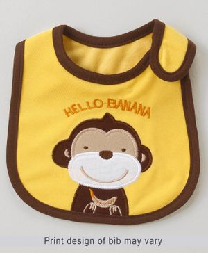 Babyhug Bib Monkey Embroidery - Yellow