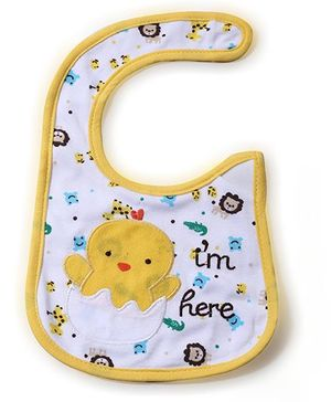 Babyhug Bib Chick Embroidery - White And Yellow