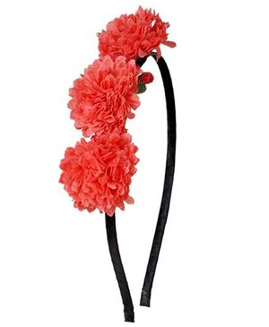 Miss Diva Hawaiian Floral Hairband - Coral