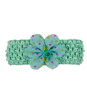 Miss Diva Headband With Dotted Flower - Sea Green