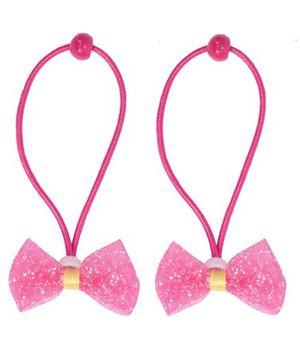 Miss Diva Set Of 2 Bow Rubber Bands - Dark Pink