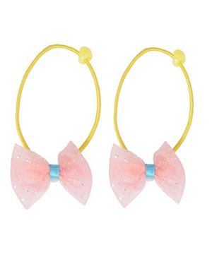 Miss Diva Set Of 2 Bow Rubber Bands - Yellow