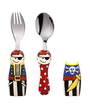 Eat4Fun Duo Kids Flatware Set Pirate Pack of Fork Spoon and 1 Holder - Blue Red