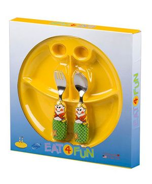 Eat4Fun Sectioned Plate Mermaid Spoon and Fork Set - Yellow Green