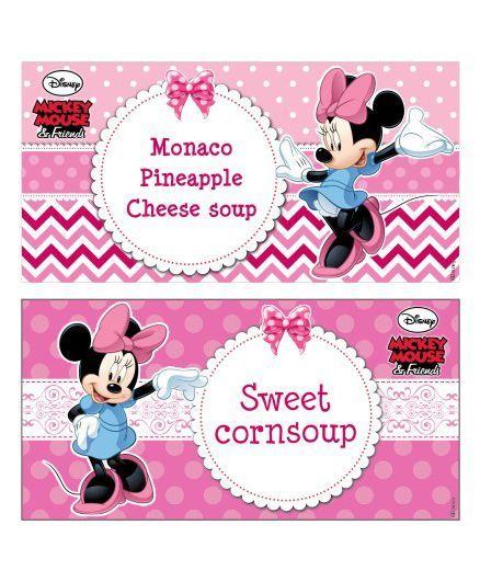 Disney Minnie Mouse Food Labels