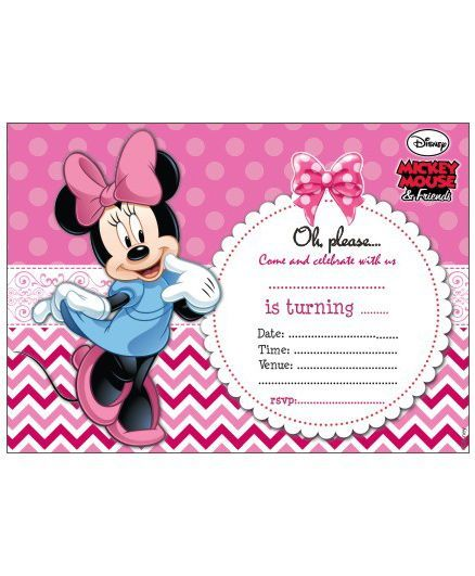 Disney Minnie Mouse Invitations Cards Pack of 10 Online in India