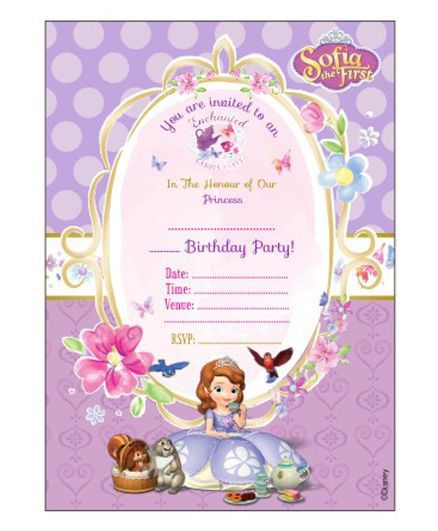 sofia the first enchanted garden party invitation cards pack of 10