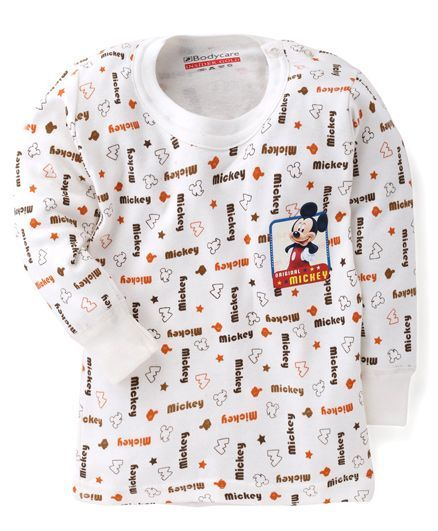 Bodycare Full Sleeves Mickey Printed Thermal Vest - White