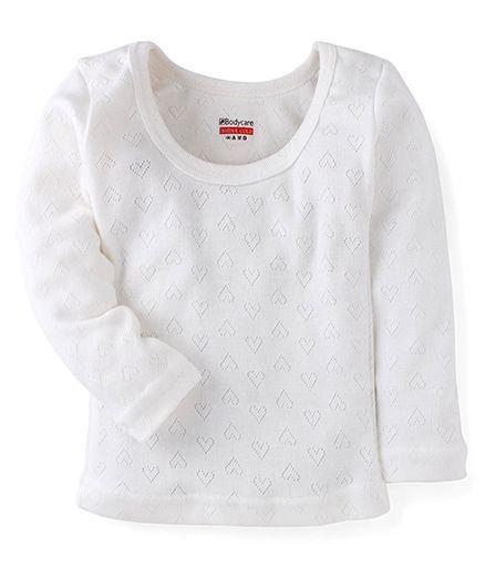 Bodycare Full Sleeves Heart Design Thermal Vest - Off White