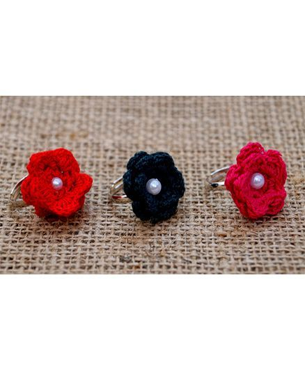 Knotty Ribbons Set Of Adjustable Three Rings with Handamde Crochet Flower - Pink, Black & Red
