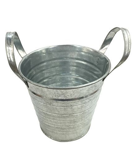 EZ Life Tin Pail Buckets For Serving Gardening Decoration Pack Of 3 - Silver
