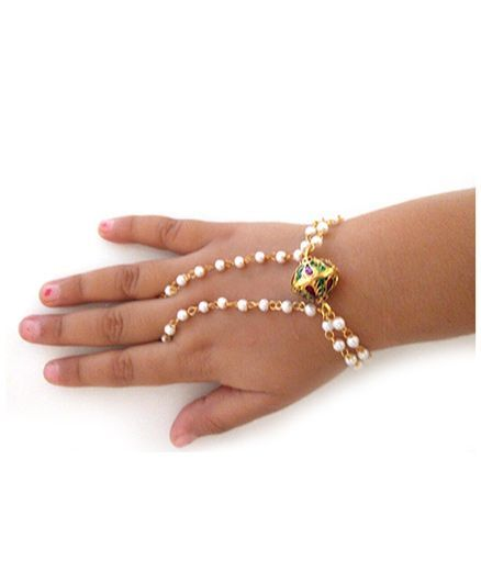 Tiny Closet Ring Chain Bracelet With Beads - White & Golden