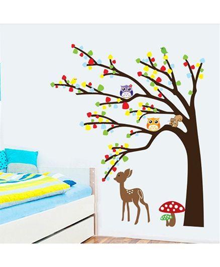Syga Tree Owl Deer Wall Sticker - Multicolor