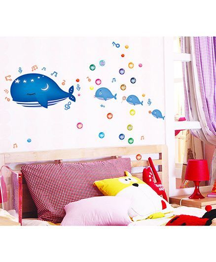Syga Whale Wall Sticker - Blue