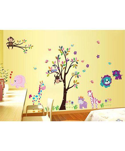 Syga Tree Animals Wall Sticker - Multicolor