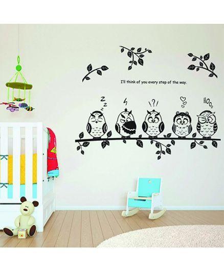 Syga Owls Wall Sticker - Black White