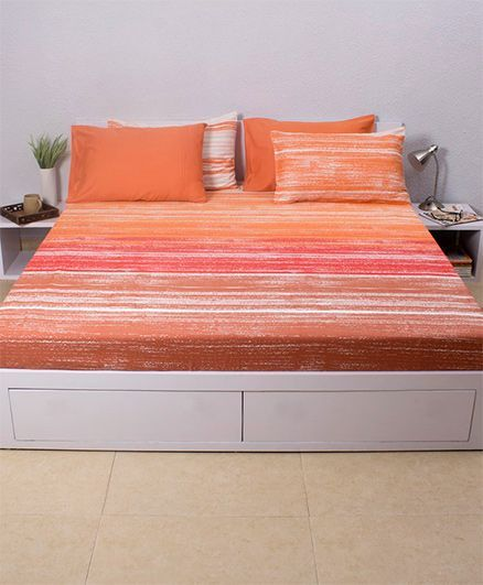 HouseThis Scream Evening Sky 1 Double Fitted Bedsheet & 2 Pillow Covers - Orange