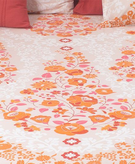 HouseThis Frida Costura 1 Double Fitted Bedsheet & 2 Pillow Covers - Orange