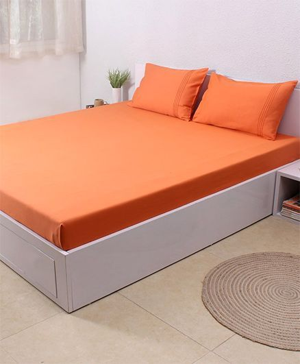 HouseThis Melon 1 Double Fitted Bedsheet & 2 Pillow Covers - Orange