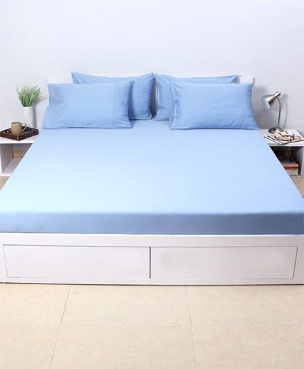 HouseThis Dusk 1 Double Fitted Bedsheet & 2 Pillow Covers - Indigo