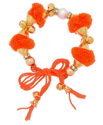 Miss Diva Traditional Pompom Bracelet - Orange