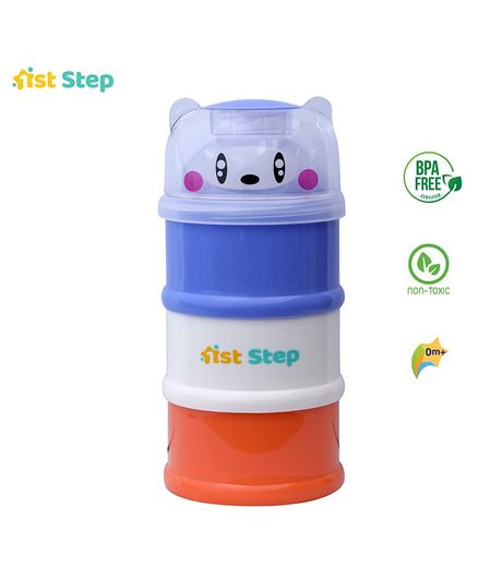 1st Step BPA Free 3 Tier Multi-Purpose Milk Powder And Food Storage Container- Purple White And Green (Style May Vary)
