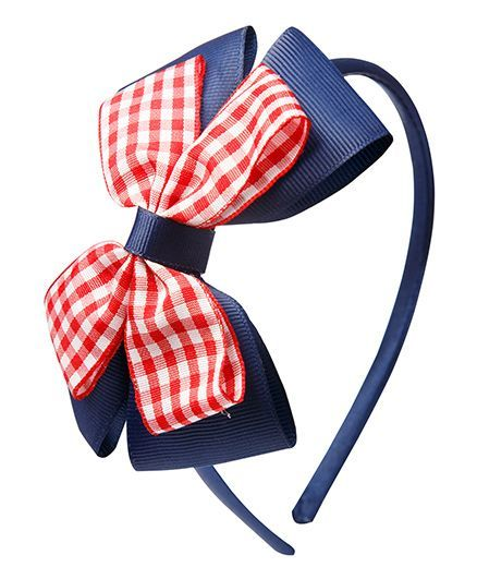Keira's Pretties Checkered Wrapped Hair Band - Red & Navy Blue