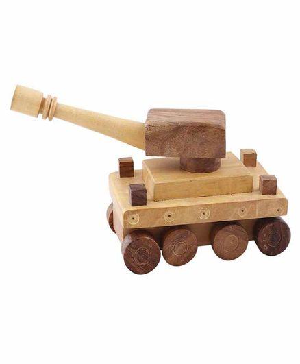 Desi Karigar Wooden Toy Tank - Brown Yellow