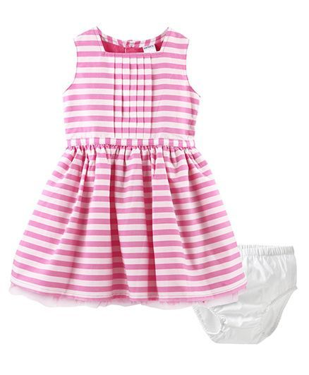 6146148a7 Buy Carters Striped Sateen Dress Pink for Girls ( Months) Online in ...