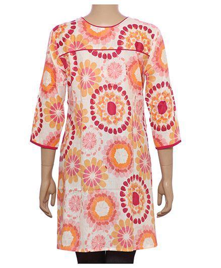 Uzazi Floral Print Maternity Long Tunic Top - Pink Orange