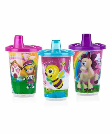 Nuby Wash Or Toss 3 Spout Cups With Lids Multicolor - 300 ml