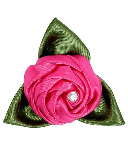 Miss Diva Rose With Leaves Brooch - Magenta