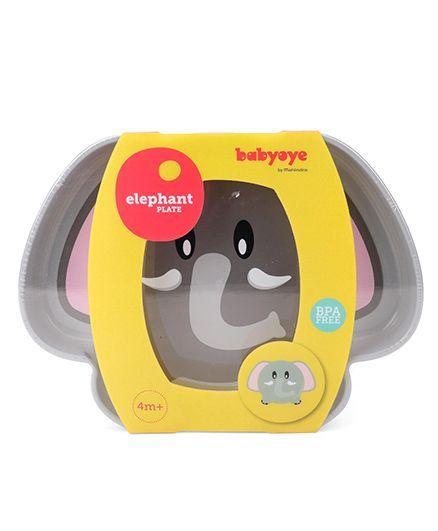 Babyoye Elephant Character Plate - Grey