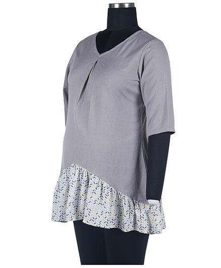Kriti Ethnic Maternity Nursing Tunic - Grey