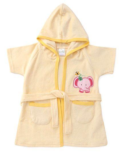 Babyhug Half Sleeves Hooded Bathrobe - Light Yellow